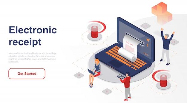 Reçu ou facture électronique de page de destination isométrique