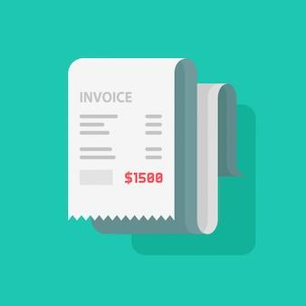 Reçu de facture papier plat dessin animé ou facture à payer isolé
