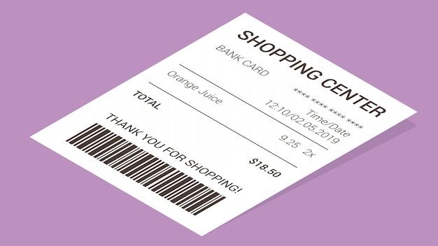 Reçu de magasin isométrique, facture de paiement papier