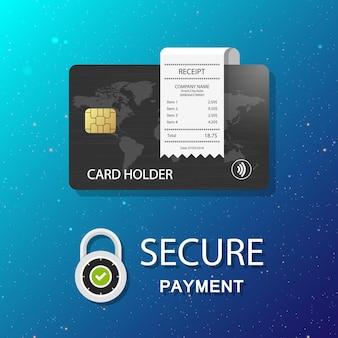 Reçu de paiement par carte de crédit paiement sécurisé cadenas