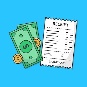 Reçu papier avec illustration d'icône argent comptant isolé