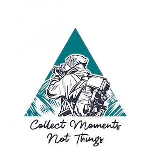 Recueillir moments not things photographer illustration avec le slogan de citation dans un style vintage