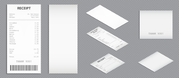 Reçus de magasin, chèques papier avec dessus de code-barres et vue en perspective. ensemble réaliste de vecteur de factures d'achat, factures vierges et imprimées. chèques d'achat isolés