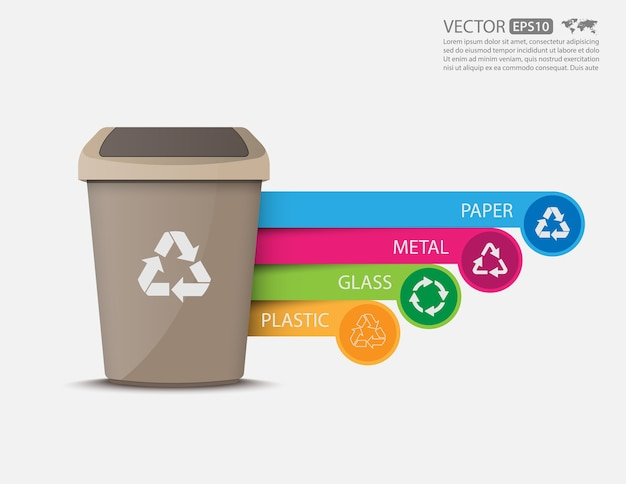 Recycler les bacs infographic.vector