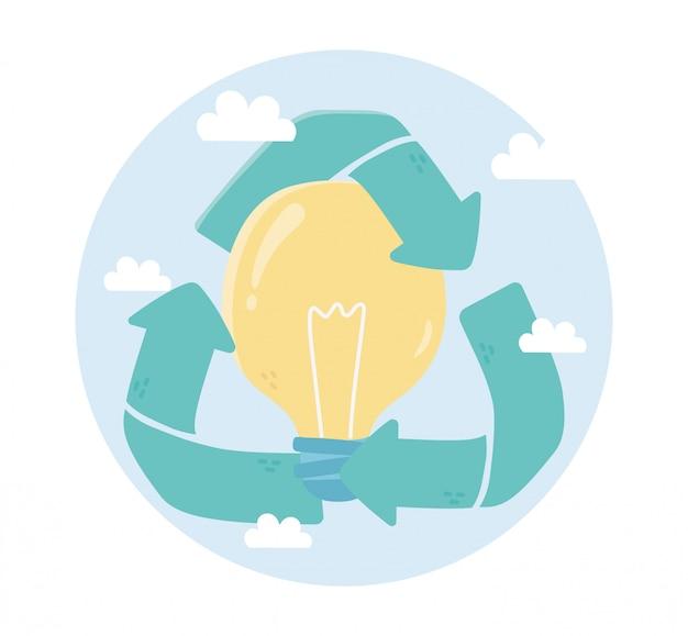 Recycler l'écologie de l'environnement de la créativité de l'ampoule