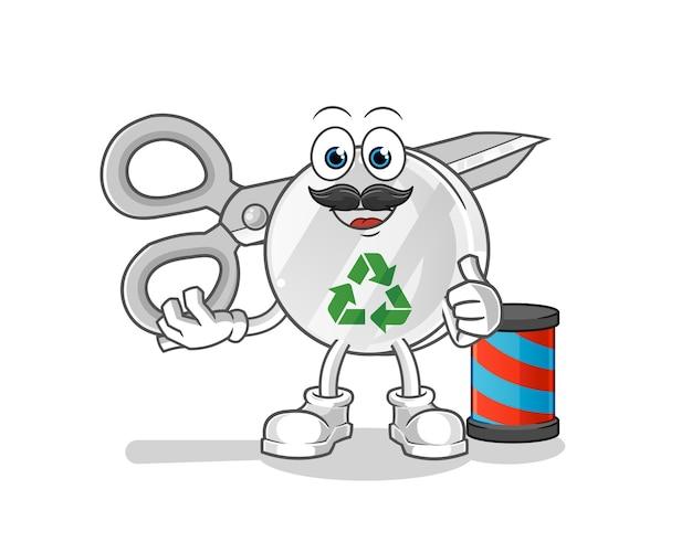 Recycler l'illustration de dessin animé de coiffeur signe