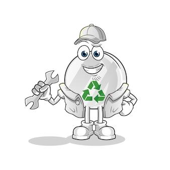 Recycler l'illustration de dessin animé de mécanicien signe