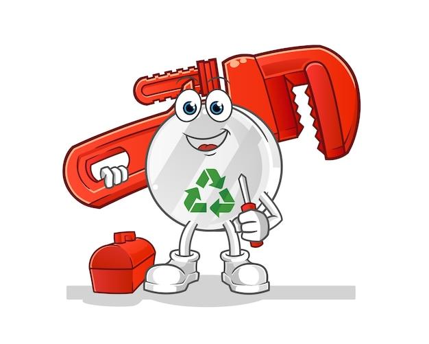 Recycler l'illustration de dessin animé de plombier signe