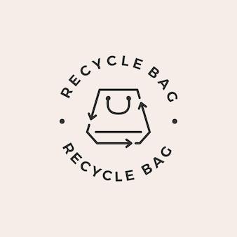 Recycler le logo vintage du sac à provisions