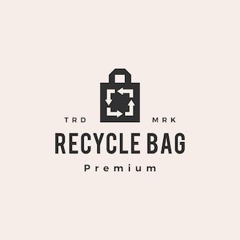 Recycler le logo vintage de sac hipster