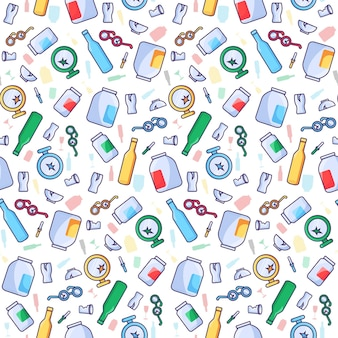 Recycler le modèle de déchets de verre avec des bouteilles cassées sans soudure et d'autres déchets de verre. zéro déchet, réduisez la pollution et sauvez le concept de l'environnement. illustration vectorielle de protection écologique