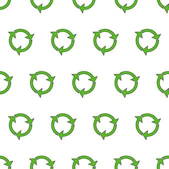 Recycler le modèle sans couture de triangle sur un fond blanc. illustration recyclée verte écologique