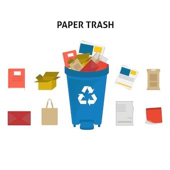 Recycler le papier illustration set corbeille