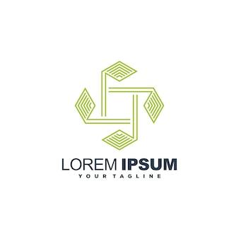 Recycler le vecteur de conception de logo vert art ligne