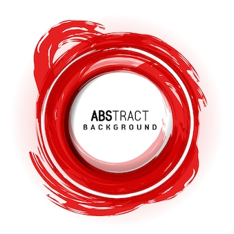 Red circle artistic abstract brush strokes background avec round place for text