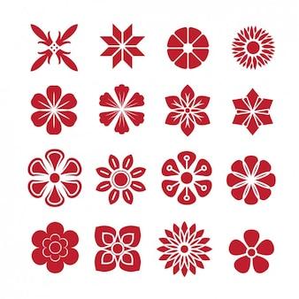 Red icons collection de fleurs