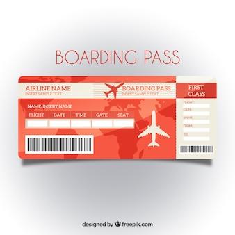 Red modèle de carte d'embarquement avec fond de carte
