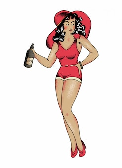 Red outfit girl no5 de sailor jerry