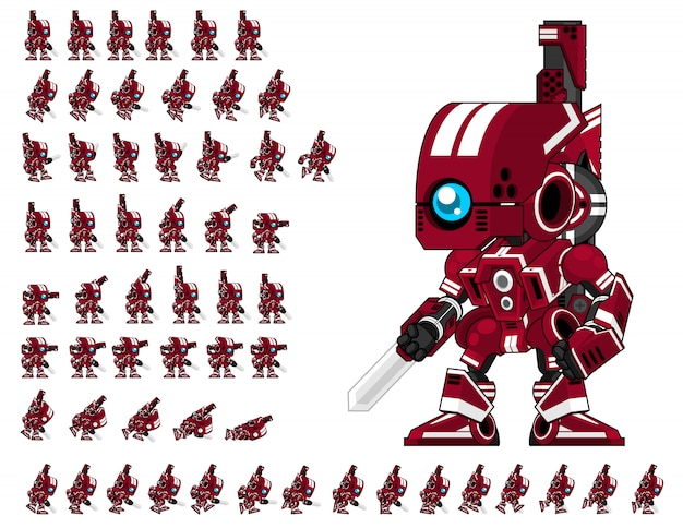 Red robot jeux sprite
