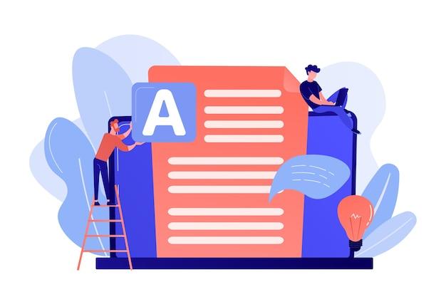 Rédacteur à un énorme ordinateur portable écrivant un texte promotionnel créatif. travail de rédaction, rédacteur à domicile, illustration de concept de rédaction freelance