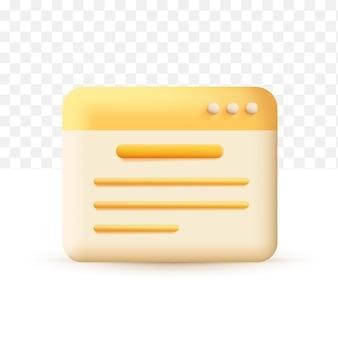 Rédaction avec appareil, icône d'écriture. concept de document jaune. illustration vectorielle 3d sur fond transparent blanc