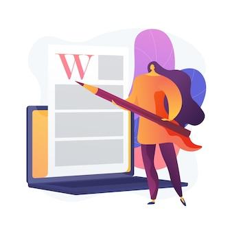 Rédaction de contenu créatif. rédaction, blog, marketing internet. édition et publication de texte d'article. documents en ligne. écrivain, personnage de l'éditeur.