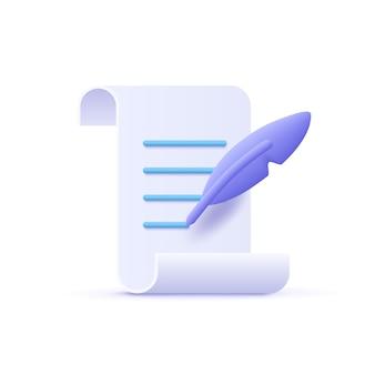 Rédaction d'écriture icône document et stylo plume 3d illustration vectorielle
