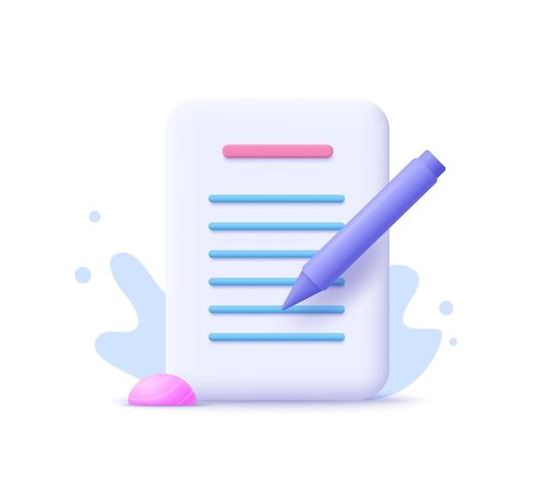 Rédaction, icône d'écriture. notion de document. illustration vectorielle 3d.