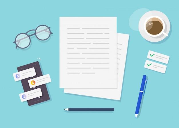 Rédaction de vecteur de contenu de texte sur la vue de dessus de table de travail de l'écrivain ou création d'un document d'essai