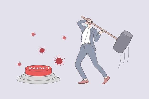 Redémarrage de l'entreprise après le concept de verrouillage covid-19. homme d'affaires dans une entreprise de réouverture de masques médicaux utilisant un énorme marteau pour appuyer sur le bouton de redémarrage d'urgence pendant la pandémie de coronavirus
