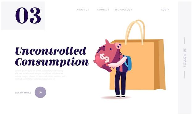 Réduction de la consommation, modèle de page de destination de dépôt bancaire ouvert.