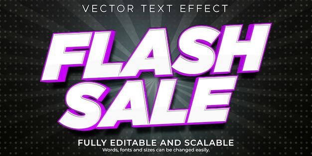 Réduction modifiable d'effet de texte de vente flash et style de texte d'offre