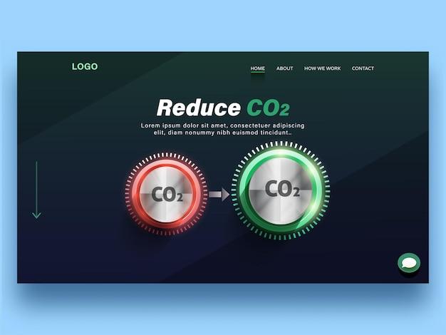 Réduire la page de destination basée sur le concept de dioxyde de carbone