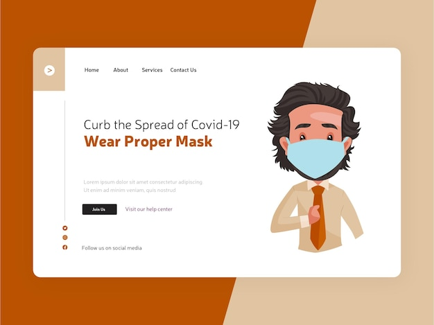 Réduire la propagation de covid19 porter une conception de page de destination de masque appropriée