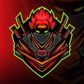 Redz ninja samouraï gaming mascotte logo vecteur