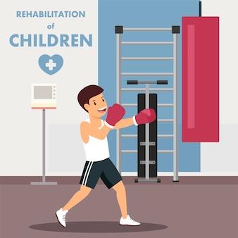 Rééducation des enfants avec publicité de boxe