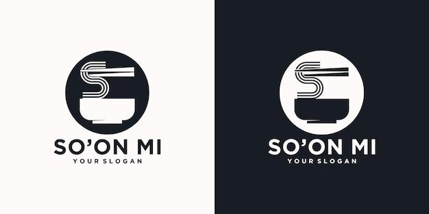 Référence du logo de nouilles, avec style initial, magasin de nouilles, ramen, udon, magasin d'alimentation et autres.