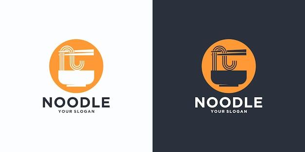Référence Du Logo De Nouilles, Avec Style Initial, Magasin De Nouilles, Ramen, Udon, Magasin D'alimentation Et Autres. Vecteur Premium