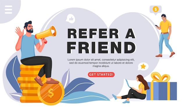 Référer un ami concept, modèle pour site web