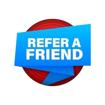 Référez un ami. bannière de ruban isolé sur fond blanc. création de sites web. illustration vectorielle de stock.