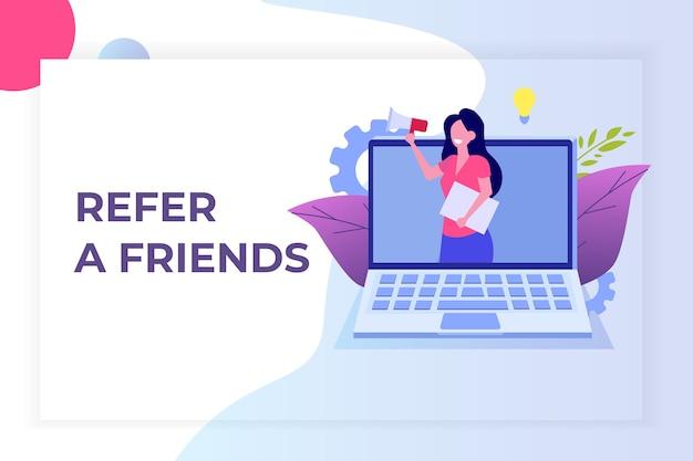 Référez un ami, marketing de réseau de référence. recommander à un ami. partager le code de parrainage les femmes crient sur un mégaphone.