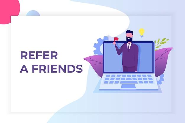 Référez un ami, marketing de réseau de référence. recommander à un ami. partager le code de parrainage l'homme crie sur le mégaphone.