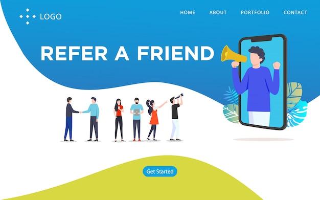 Référez-vous à un ami, illustration vectorielle de site web