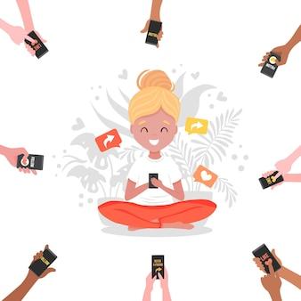 Référez-vous à une bannière d'ami avec des mains de dessin animé tenant des téléphones et une fille assise en lotus avec téléphone