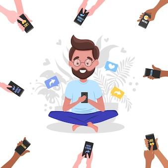 Référez-vous à une bannière d'ami avec des mains de dessin animé tenant des téléphones et un homme assis en lotus avec téléphone