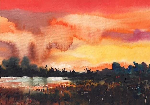 Reflet du coucher de soleil sur l'eau avec une belle nature à l'aquarelle