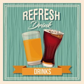Refresh boissons bière verre soda liquide vintage affiche