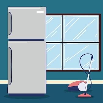 Réfrigérateur et aspirateur