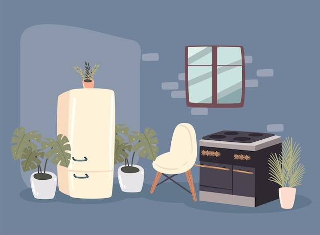 Réfrigérateur et chaise