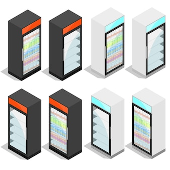 Réfrigérateur commercial pour boissons en canettes et bouteilles. isométrique isolé sur fond blanc. équipements de réfrigération pour magasins et supermarchés. illustration vectorielle.
